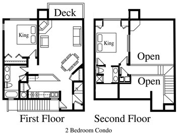 Floor Plan for Rocky Mountain High-da-way...Two Bedroom Purgatory Resort Condo at Silverpick