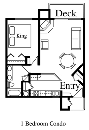 Floor Plan for Woodhaven...One Bedroom Ski Condo at Silverpick