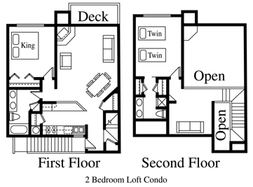 Floor Plan for The Brown Eyed Girl...Dog Friendly Two Bdrm Loft Condo at Purgatory