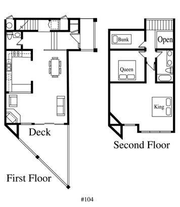 Floor Plan for Three Bedroom Durango Mountain Townhome at the Silverpick Lodge